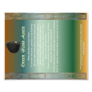 Green Moss Agate Properties Chart Photo Print
