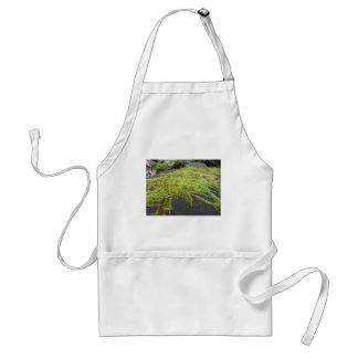 Green moss in nature Detail of moss covered stone Adult Apron