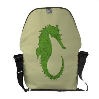 Green Moss Seahorse Courier Bag