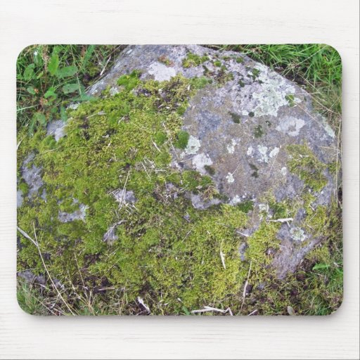Green Mossy Rock Mouse Pad
