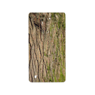 Green mossy wooden texture address label