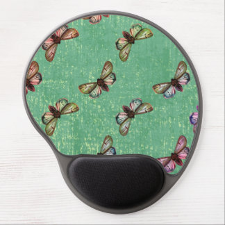 Green Moth Pattern Gel Mouse Pad