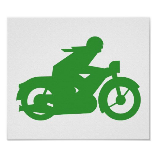Green Motorbiker Sign