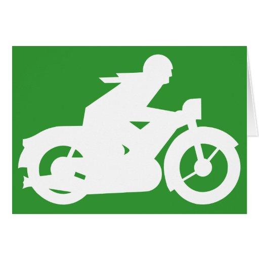 Green Motorbiker Sign Greeting Card