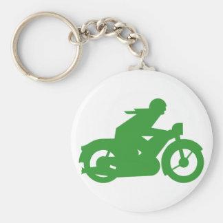 Green Motorbiker Sign Keychain
