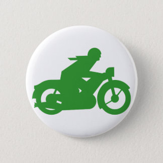 Green Motorbiker Sign Pinback Button