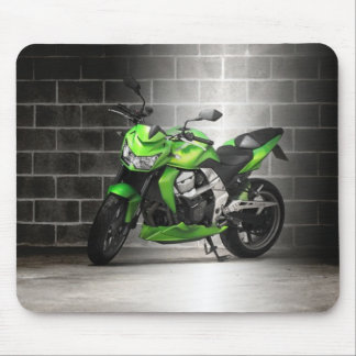Green Motorcycle Mouse Pad