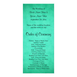 Green Mottled Pattern Wedding Program