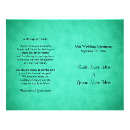 Green Mottled Pattern Wedding Program