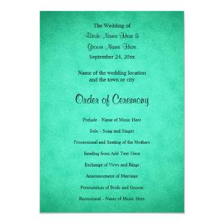 Green Mottled Pattern Wedding Program Card