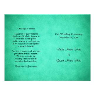 "Green Mottled Pattern Wedding Program 8.5"" X 11"" Flyer"