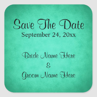 Green Mottled Pattern Wedding Save The Date Square Sticker