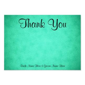 Green Mottled Pattern Wedding Thank You Card