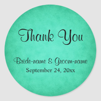 Green Mottled Pattern Wedding Thank You Classic Round Sticker