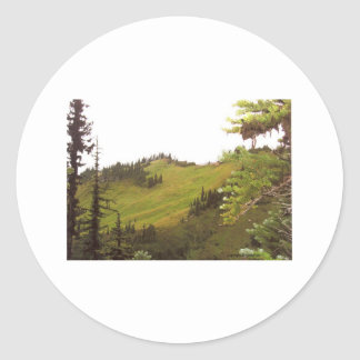 Green Mountain Meadow Mt Rainier National Park Classic Round Sticker