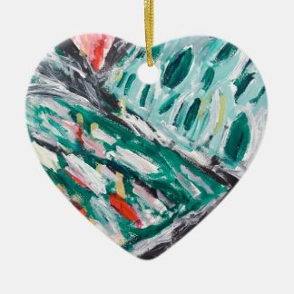 Green Mountain Rapids (abstract landscape) Ceramic Ornament