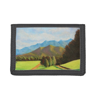 green mountain valley pastel landscape painting trifold wallets
