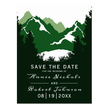 Wedding Themed Green mountain winter wedding Save the Date Postcard