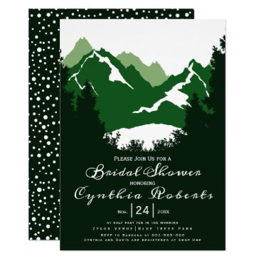 Wedding Themed Green mountains and conifers wedding bridal shower card