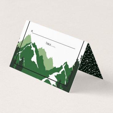Wedding Themed Green mountains winter wedding folded escort place card