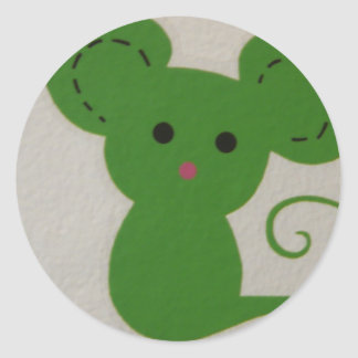 green mouse classic round sticker