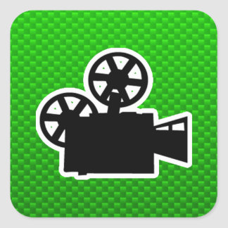 Green Movie Camera Square Sticker