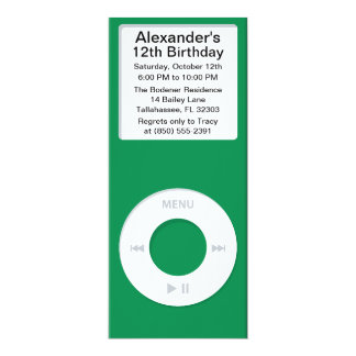 Green MP3 Player iParty Birthday Party Card