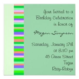 Green Multi Color stripe Birthday Invitation