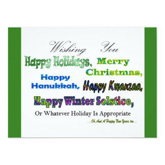 Green Multi holiday greetings 6.5x8.75 Paper Invitation Card