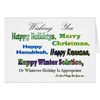 Green Multi holiday greetings Greeting Cards