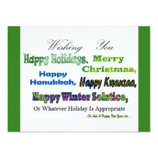 "Green Multi holiday greetings 6.5"" X 8.75"" Invitation Card"