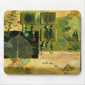 Green Multi-Media Jeweled Collage Mouse Pad