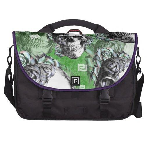 Green multi skull for mental health. bags for laptop