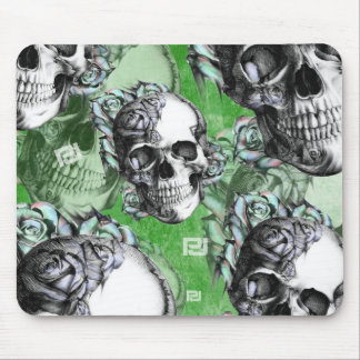 Green multi skull for mental health. mouse pad