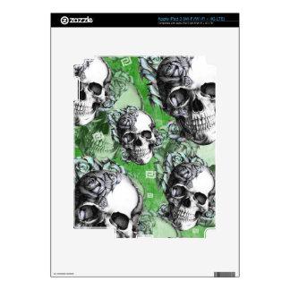 Green multi skull for mental health. skin for iPad 3