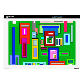 """Green Multicolored squares and rectangles Decal For 17"""" Laptop"""