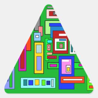 Green multicolored squares retro pattern triangle sticker