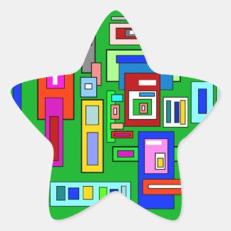 Green multicolored squares retro pattern star sticker