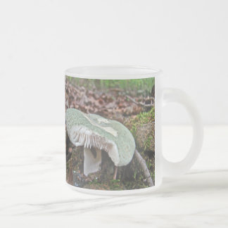 Green Mushroom - Russula crusosa Frosted Glass Coffee Mug