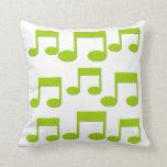 Green Music Notes Theme Pillow Cushion