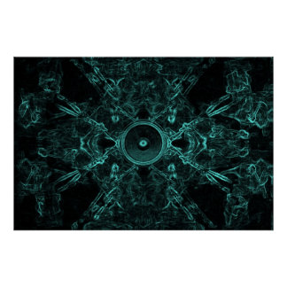 Green music speaker on a dark background poster