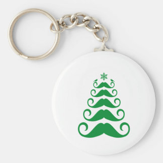 Green mustache Christmas tree Basic Round Button Keychain