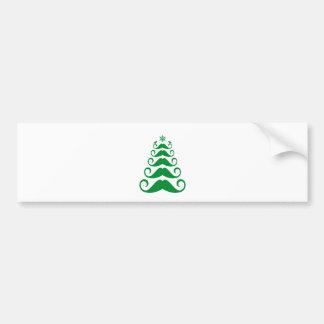 Green mustache Christmas tree Bumper Sticker