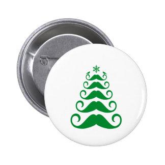 Green mustache Christmas tree Button