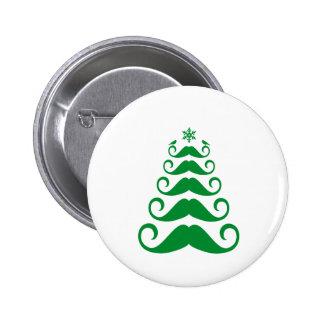 Green mustache Christmas tree Pin
