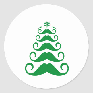 Green mustache Christmas tree Classic Round Sticker