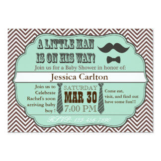 "Green Mustache & Ties Baby Shower Invitations 5"" X 7"" Invitation Card"