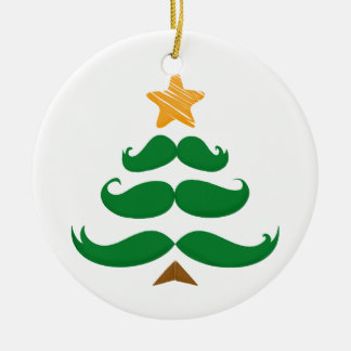 Green Mustache Tree Double-Sided Ceramic Round Christmas Ornament