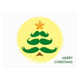 Green Mustache Tree - Merry Christmas Postcard