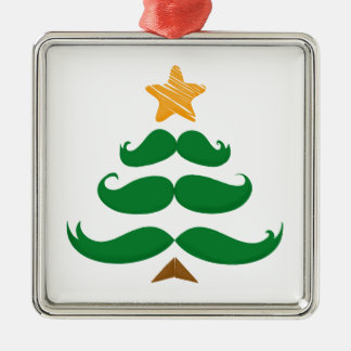 Green Mustache Tree Christmas Ornament